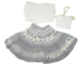 Together skirt Heather gray baby doll 32 cm + crocheted purse