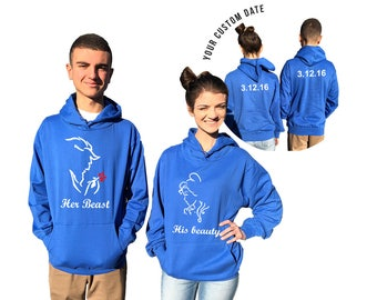 Her Beast His Beauty couple hoodies, personalized Back custom Dates, comes in a pair, Matching hoodie, Anniversary gift **BOTH