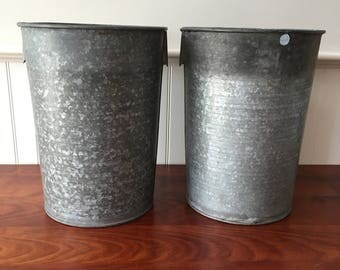 Two Vintage Sap Bucket Sap Buckets Vermont Galvanized Sap Buckets Garden Planter Galvanized Bucket Maple Sap Bucket Industrial Buckets