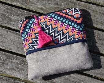 """Tribal"" taupe - worn suede purse - wallet - wallet - coin purse boho - feather boho coin purse Bohemian"