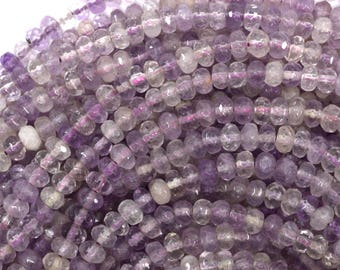 """6mm faceted amethyst rondelle beads 15.5"""" strand 39112"""