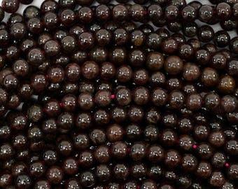 "4mm red garnet round beads 15.5"" strand S2 38739"