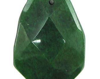 40mm faceted emerald green jade ladder bead pendant 30460