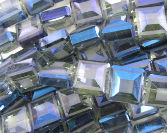 """13mm faceted frost crystal square beads 8"""" strand dark blue 34725"""