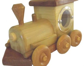 Wooden Train Coin Bank. Gift for New baby or Child's Birthday