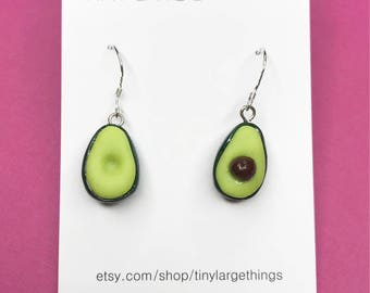 Polymer clay avocado earrings