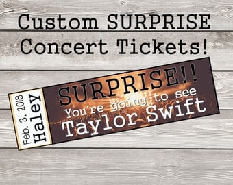 Printable Surprise Concert Tickets with Custom Name Dates Personalize Reveal DIY Digital File jpg pdf band concert reveal gift show novelty