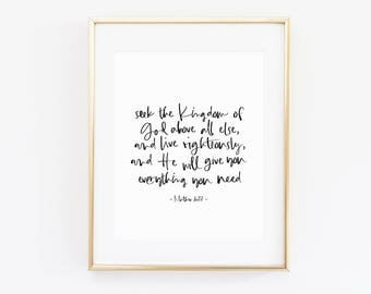 Matthew 6:33 | Seek first the Kingdom | Christian Wall Art | Faith Print | Scripture Art | Christian Decor | Bible Verse Print