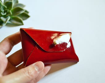 Red patent leather card case / Red patent envelope card holder / Red leather business card case / Genuine leather