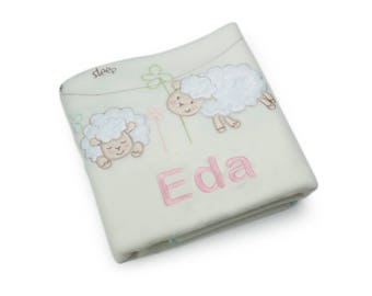 Personalized baby blanket, personalized baby shower gift,  embroidered baby gift,  christmas baby gifts,with lamb design,