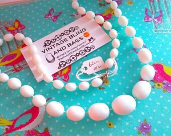 62cm vintage 1980s necklace (#2) 1980s necklace, white bead necklace, white necklace,  vintage necklace, necklace, vintage bead necklace