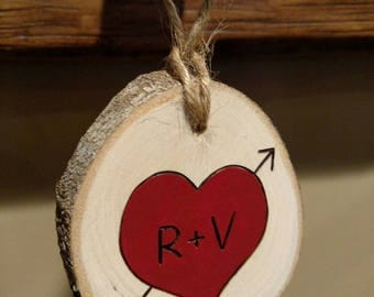 Couple's Ornament -- Custom Wood Burned Heart Valentine's Day/Christmas/Anniversary ornament personalized with initials