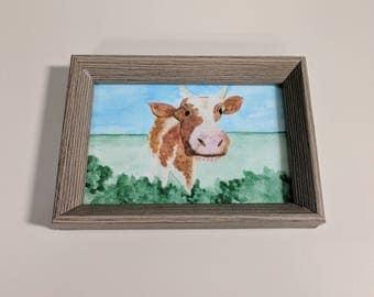 Watercolour Cow in Farm