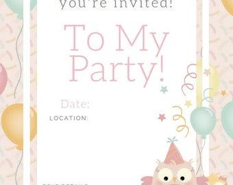Owl Birthday Invite , birthday party invite