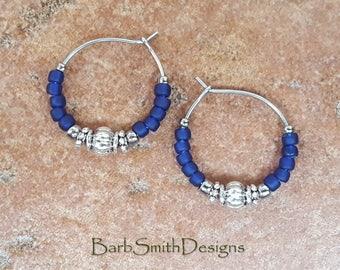 """Beaded Blue Silver Hoop Earrings, Blue Cobalt Stainless Steel Earrings, Small 3/4"""" Diameter in Cobalt"""