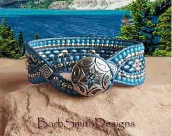 "Blue and Silver Beaded Bracelet-Leather Wrap Cuff-Woven Leather-Denim Bracelet-Size 6 1/2""-Custom Size-Diamond Princess in Montana Teal"