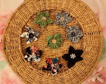 Handmade fabric flowers 7 cm Alligator Clip