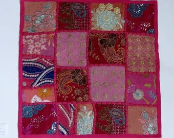 Cushion cover,throw pillows,Pink,multicolor,Ethnic Indian. 40x40 cms, 16 inches square,embroidered patchwork,boho,bohemian,ethnic art.