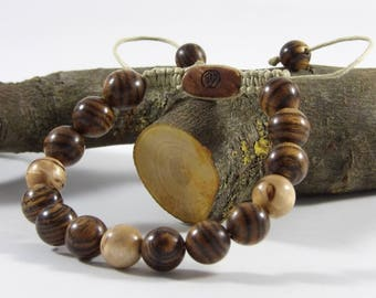 Bracelet made of bocote and Birch Woods curly Bracelet man-beads gemstone is hand-Taamak