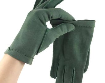 Vintage Ladies Green Short Dress Gloves CRESCENDOE Olve Green Tailored Gloves - Size 7 - Mid Century - 1950s