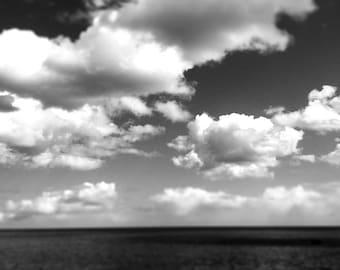 Ocean Sea Print, Black and White Wall art, White Clouds, Sea Decor, The Deep, Square print