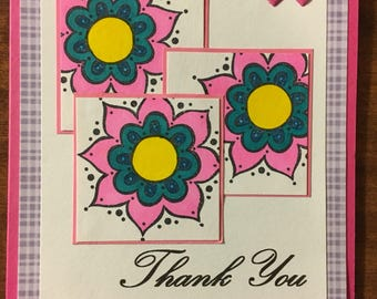 Thank you cards 5 Handmade one of a kind Cards  blank inside  (white envelope included when shipped) flowers