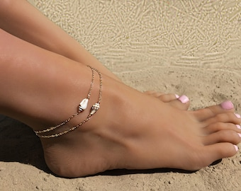 Shell Anklet, Ankle Bracelet, Anklets for Women, Foot Bracelet, Gold Filled Anklet, Beach Anklet, Beach Jewelry, Shell Jewelry, Boho Anklet