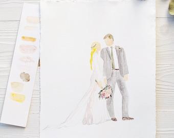 Custom Watercolor Wedding Portrait Bride and Groom Illustration