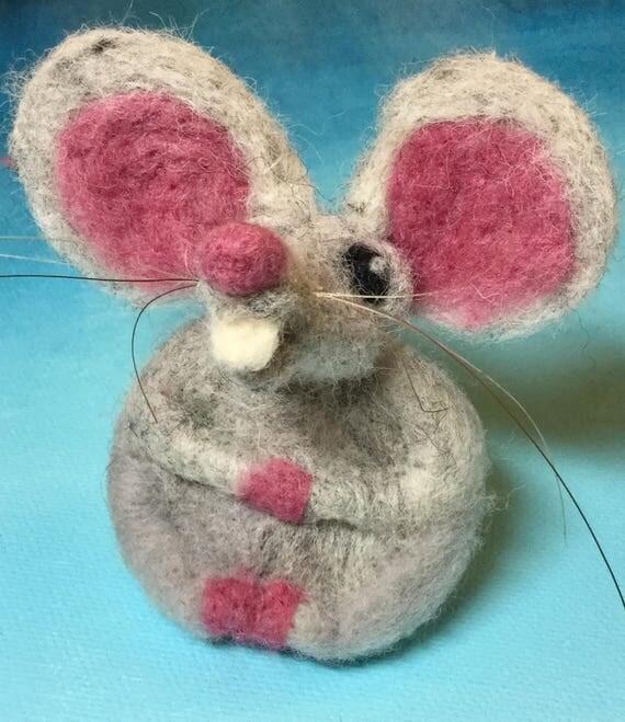 Mouse ears Felted gray mouse/ rat