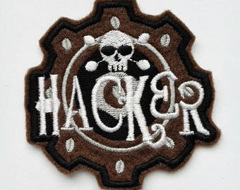 Patches on patches hacker skull embroidered application