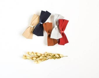 Christmas Bows Leather Hair Bow Crocodile Clip or Nylon Spring Headband,  Navy Bow, Red Bow, Holiday Bow Soft Nuetral Color Accessories