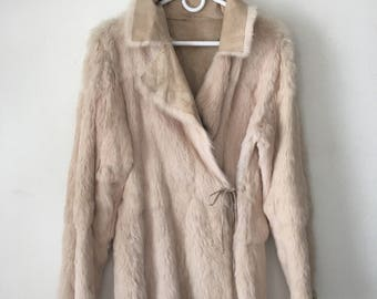 Rare Mid Length Vintage Beige Genuine Rabbit Fur Women's Small Medium.