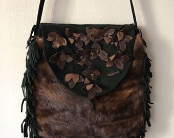 Mink fur shoulder hand made woman bag .