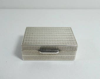 Antique Pill Trinket Compact Snuff Box Sterling Silver Engine Turned Decoration Hallmarked