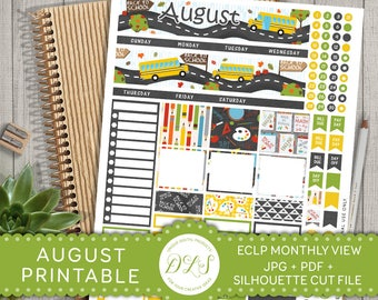 August Monthly Stickers Kit for use with Erin Condren LifePlanner™, EC August Monthly Kit, Monthly Planner Printable Stickers, MV104