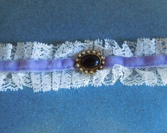 Vintage White Lace Choker Necklace with Purple Accents