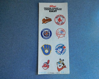Kellogg's Frosted Flakes Cereal American League East Baseball Stickers from 1992