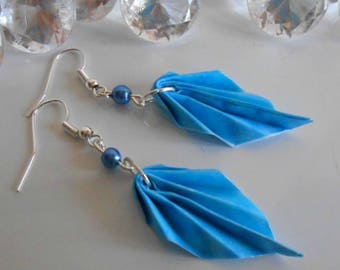 Origami leaf earrings blue pearl beads