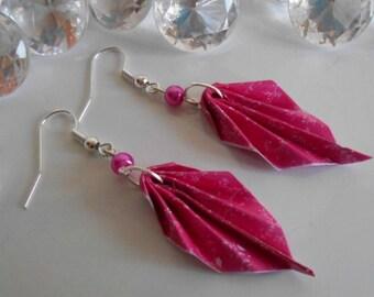 Origami leaf earrings Fuchsia pearls