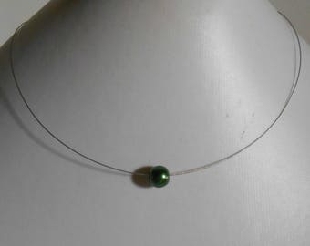 Dark green solitaire Pearl bridal necklace