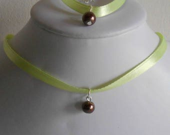 Wedding set adult/child pendant chocolate brown and lime green satin ribbon