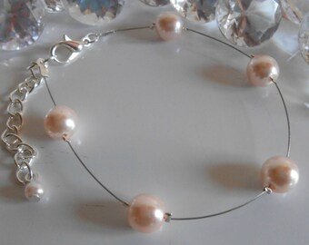 Simplicity wedding bracelet pale pink pearls