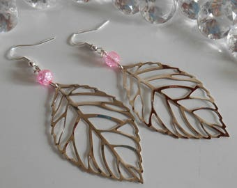 Pink cracked beads and silver filigree leaf earrings