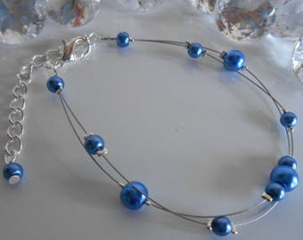 Bracelet wedding 2 rows of pearly blue beads
