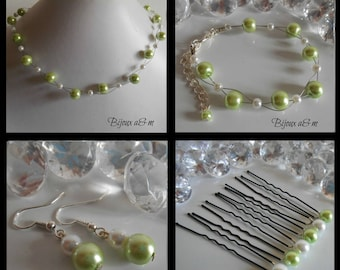 Set of 4 wedding pieces twist of lime green and white beads