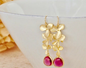 Gold Cascading Orchid Earring Fuchsia Pendant Bridesmaid Earring Bridal Earring Bridesmaid Gift for Her Birthday Gift Birthstone Earrings