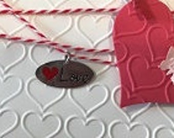 Valentine Greeting Card with Heart and Charm