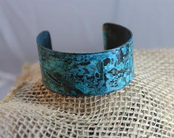 Pretty Copper Cuff Bracelet with Blue Patina (121217-007)