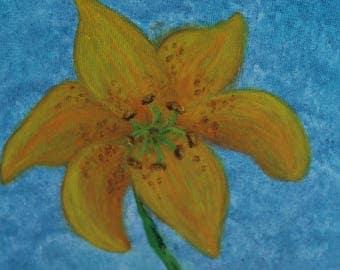 Yellow Lily-Canvas Board-Original acrylic painting-art