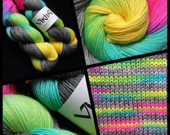 "Dyed to Order, Hand Dyed Yarn, Hand Dyed Sock Yarn, Hand Dyed DK Yarn. ""Broken Rainbow"""